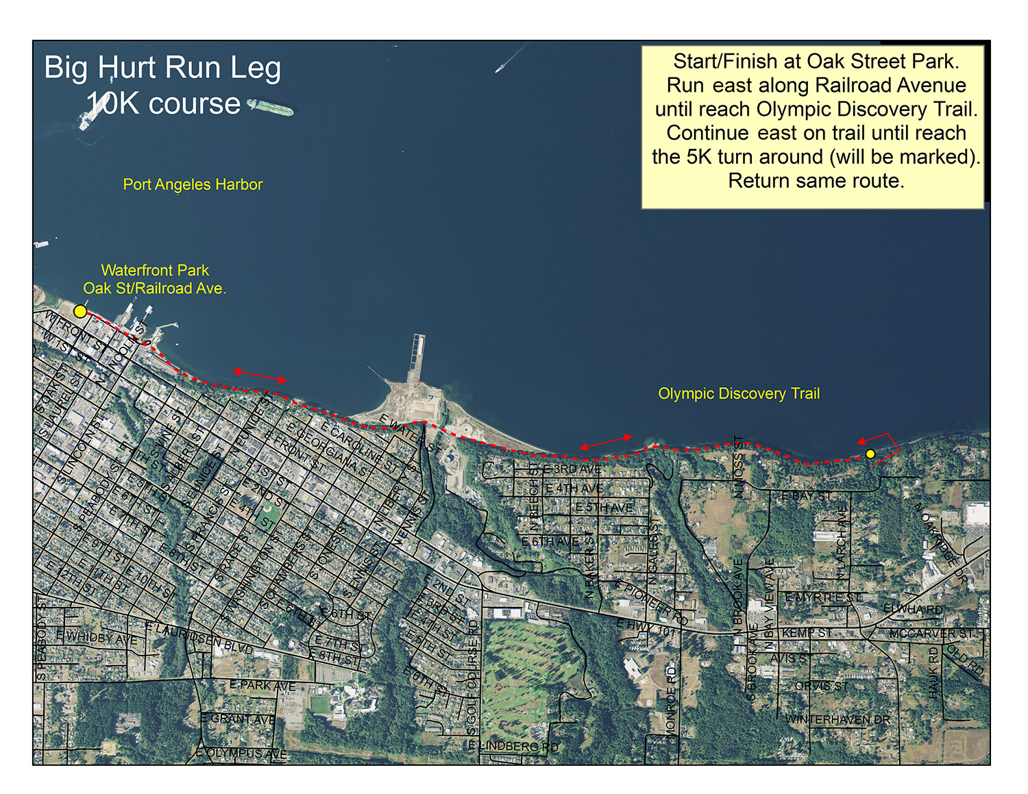Map of the Run Leg of the Big Hurt Multi-Sport Race